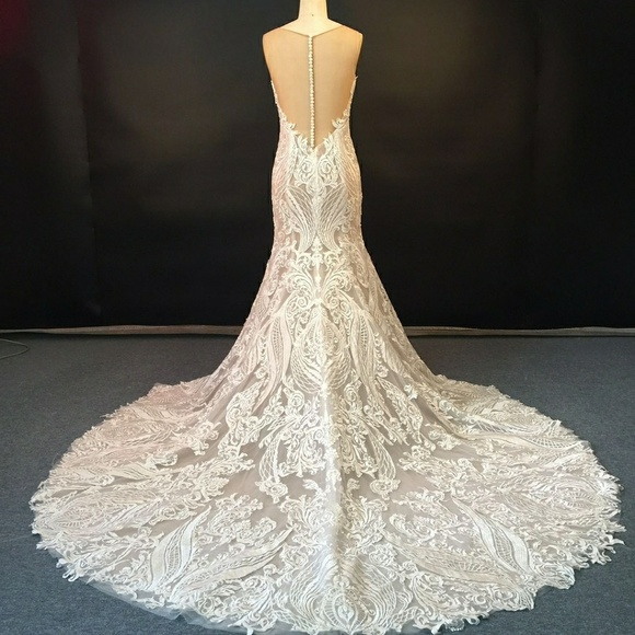 Elegant Lace With Sheer Mermaid Wedding Dress Boutique